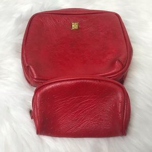 Givenchy Red Make Up Cosmetic Travel Bag 2 pc set